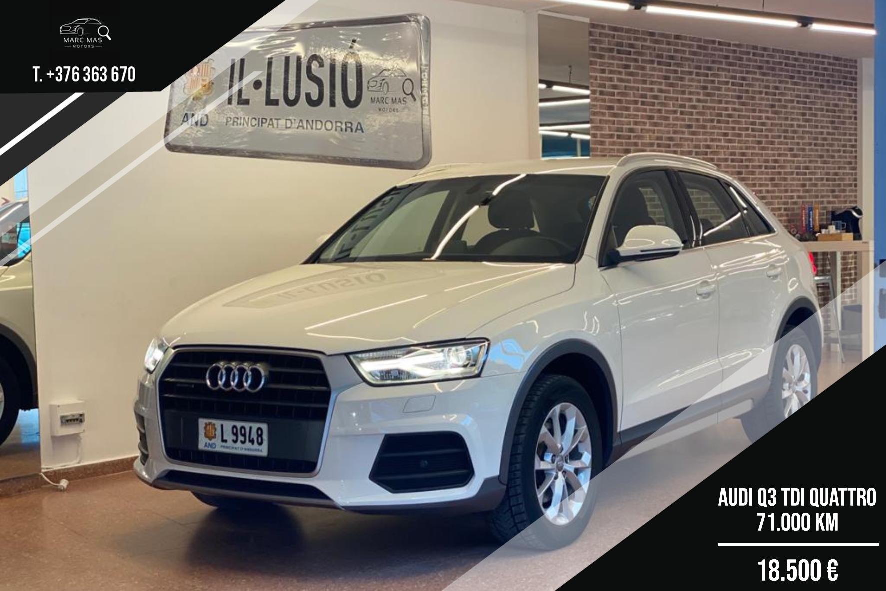Audi - Q3 - Q3 2.0 TDI QUATTRO Q3 2.0 TDI QUATTRO Dièsel  2016  71.000 Km